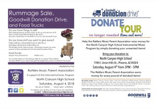 Rummage Sale, Goodwill Donation Drive and Food Trucks! on August 4, 2018